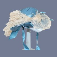 Vintage Peacock Blue Fancy Hat with Feathers Doll Bonnet
