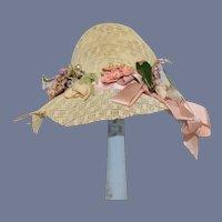 Vintage Straw Doll Hat Wide Brim Sunbonnet Flowers Pink Bow
