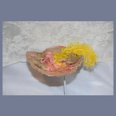 Charming Old Vintage Doll Hat Fancy with Feathers