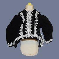 Vintage Black Velvet and Lace Doll Top