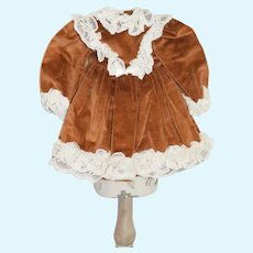 Vintage Doll Dress in Chestnut Brown with Lace