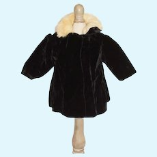 Vintage Elegant Black Velvet Doll Coat with Fur Collar