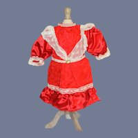 Vintage Red Satin Dress with Lace Trim and Ruffle