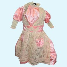 Vintage Large Pink Doll Dress with Cream Lace and Detachable Sash