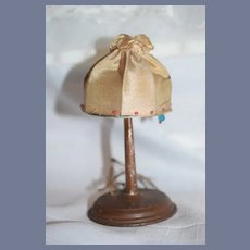 Wonderful Old Miniature Metal Standing Lamp With Fancy Silk Shade for Doll Dollhouse