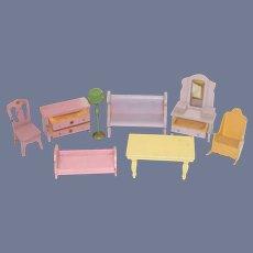 Vintage Dollhouse Furniture Set GROUP Table Dresser Lamp Bench Vanity Chair Bed