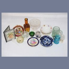 Vintage Doll Dollhouse Miniature Lot Glassware Limoges Crocks and More