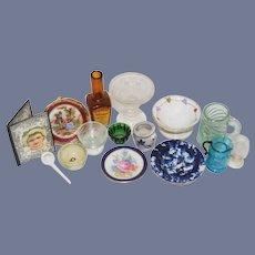 Vintage Doll Dollhouse Miniature Lot Glassware Limoges Crocks and More
