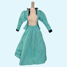 Vintage Turquoise Blue Doll Jacket and Skirt Set