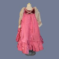 Vintage Pink Doll Dress with Velvet Bodice and Sheer Long Sleeves