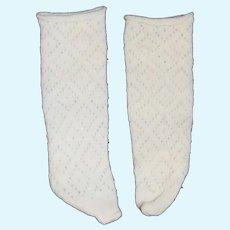 Vintage Doll Socks Diamond Knit Off White