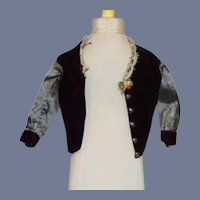 Sweet Antique Doll Jacket Velvet and Silk W/ Lace Fashion Doll Top