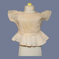 Vintage Old Linen and Lace Doll Blouse w Peplum