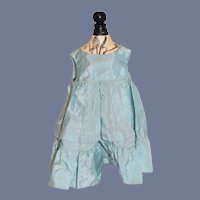 Sweet Vintage Sleeveless Doll Dress Satin Aqua Blue Gathered High Waist
