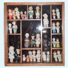 Antique Doll LOT HUGE Frame w/ ALL Bisque Dolls Wood Oak with Glass Front Wonderful