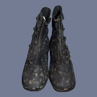 Vintage Doll Boots Button Black Distressed Leather Cute
