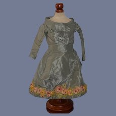 Wonderful Vintage Doll Dress in Green with Flowers and Bustle