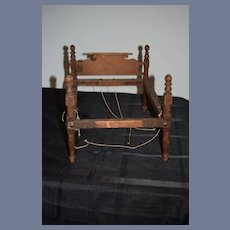 Antique Doll Wood Rope Bed Petite Size Folk Art Wonderful