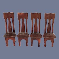 Old Wood Miniature High Back Doll Chair Dollhouse Set of Four