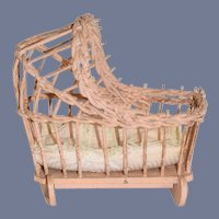 Old Doll Cradle Wood and Wicker Hand Made