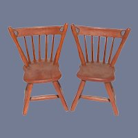 Sweet Vintage Wood Dollhouse Chairs Spindle Back Miniature