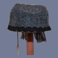 Vintage Handmade Doll Hat Blue Gray Wool Cap With Fringe