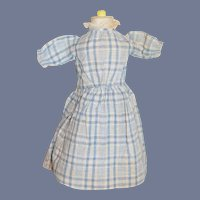 Vintage Doll Day Dress in Blue and White Plaid Cotton