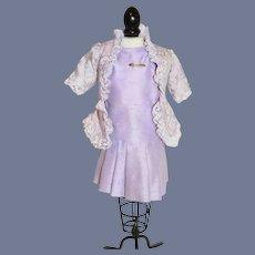 Sweet Doll Dress Vintage Drop Waist W/ Fancy Jacket Lace Trim Petite Doll Matching Bonnet