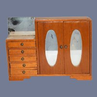 Old Wood Miniature Doll Wardrobe W/ Mirror Doors Sweet Dollhouse