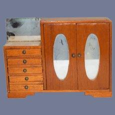 Old Wood Miniature Doll Wardrobe W/ Mirror Doors Sweet Dollhouse