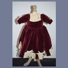 Sweet Hand Made Doll Dress Velvet W/ Lace Trim Vintage