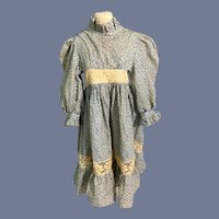 Wonderful Old Cotton & Lace High Collar Doll Dress Hand Made By Charlie Hostrup