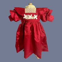 Vintage Fancy Doll Dress Hand Made Red Dress