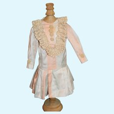 Vintage Doll Dress Brushed Silk Lace Drop Waist French Market