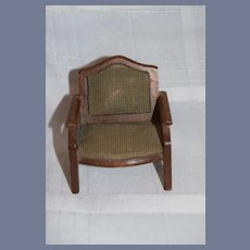 Old Vintage Wood Upholstered Arm Chair
