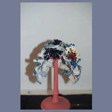 Wonderful Doll Blue Bonnet W/ Lace Flowers Wire Framed  French Market