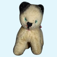 Old Sweet Mohair Cat Kitty Stuffed Animal Green Eyes