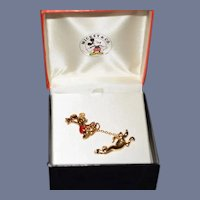 Wonderful Mickey Mouse & Pluto Vintage Pin Set & Mickey Mouse Watch  Bar Pin In Original Box