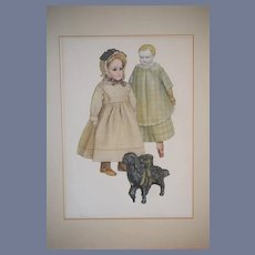 Old Signed Doll Print and Numbered Gorgeous Two Antique Dolls W/ Dog WONDERFUL