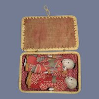 Two Oriental  Dolls in Original Woven Basket Miniature Dollhouse