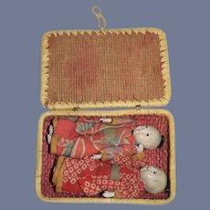 Two Oriental  Dolls in Original Woven Basket Miniature Dollhouse