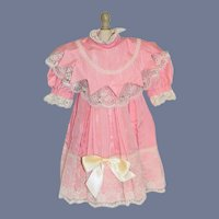 Charming Doll Dress French Market Fancy Collar Lace Sweet Pink