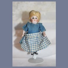 Antique Doll Miniature All Bisque Prize Baby W/ Original Label Sweet Jointed Dollhouse