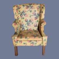 Wonderful Floral Upholstered Wing Back Chair Unusual Rolled Arms Miniature Dollhouse
