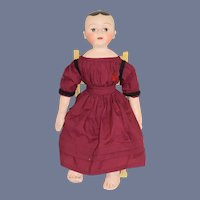 """Vintage Oil Cloth Doll Signed Dated Sweet 22"""" Tall"""