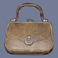Old Miniature Doll Purse Leather
