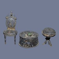 Ornate Miniature Metal Dollhouse Doll Furniture Set