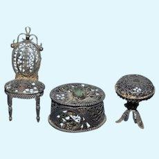 Ornate Miniature Metal Dollhouse Doll Furniture Set