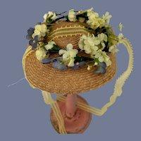 Beautiful Woven Straw Bonnet Doll Hat