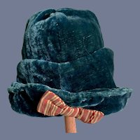 Beautiful Blue Velvet Hat With Stripe Bow Fancy Unusual Style